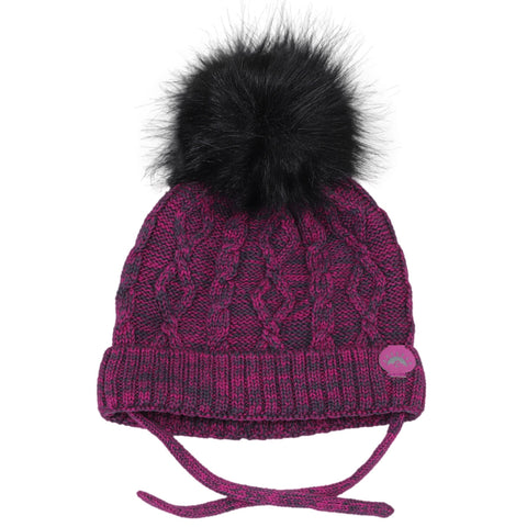 Calikids Cotton Cabled Knit Baby Hat - Magenta/Charcoal Combo