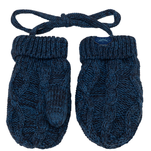 Calikids Cotton Cabled Knit Mitten - Blue Steel/Charcoal Combo
