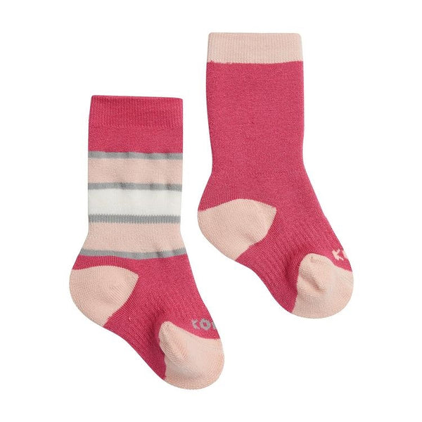 Kombi The Color Fan Baby Twin Pack Infant Sock - Bright Pink