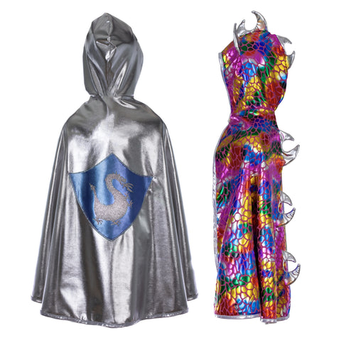 Great Pretenders Reversible Cape Multi Dragon/Silver Knight