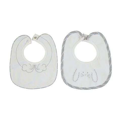Mayoral Embroidered Bibs Set of 2 - Gray