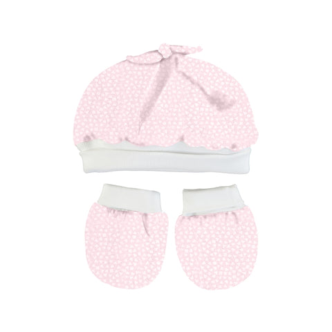 Mayoral Hat and Mittens Set - Baby Rose
