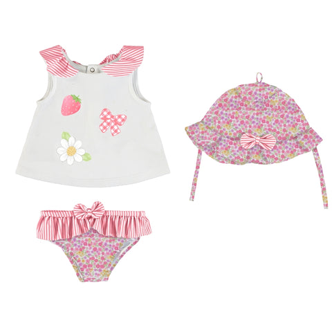 Mayoral Bathsuit set w/ Hat - Flower