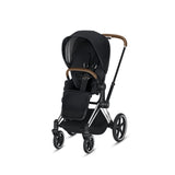 Cybex Priam Complete Stroller - Chrome/Brown Frame, PREMIUM BLACK SEAT