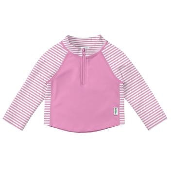 iPlay Long Sleeve Zip Rashguard Shirt-Light Pink Pinstripe
