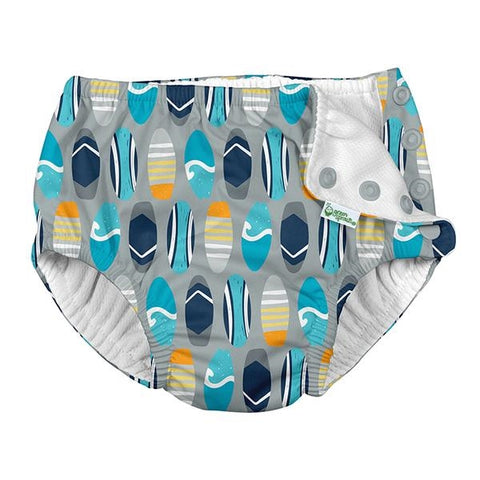 iPlay Snap Reusable Absorbent Swimsuit Diaper-Gray Surfboards