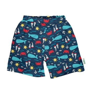 iPlay Classic Trunks W/Built-in Reusable Swim Diaper-Navy Nautical Whale