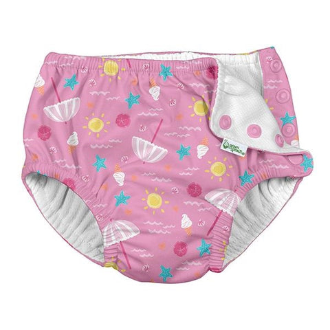 Play Ruffle Snap Reusable Absorbent Swimsuit Diaper-Light Pink Beach Day