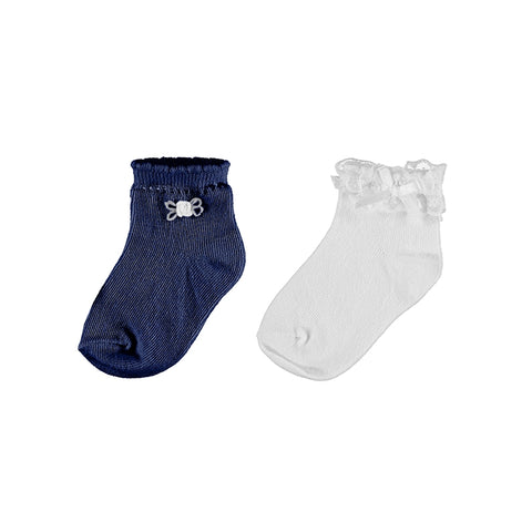 Mayoral 2 Socks Set - White/Navy