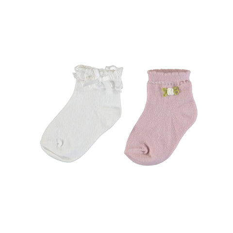 Mayoral 2 Socks Set (10738) - White/Pink