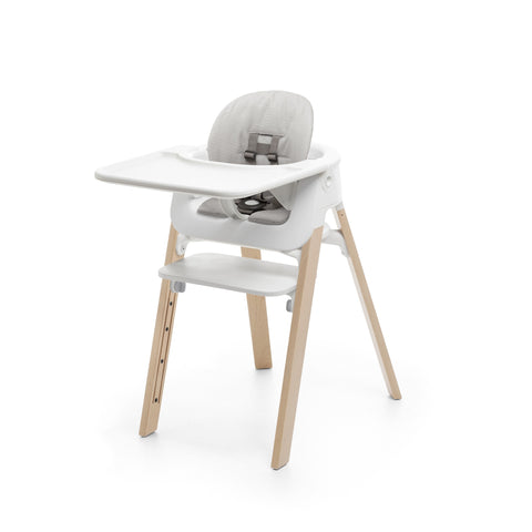 Stokke Steps High Chair Complete, Natural Legs w/ white seat and grey cushion