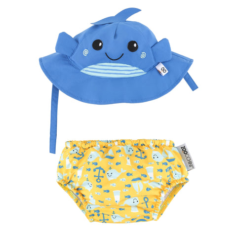 Zoocchini UPF50+ Swim Diapers & Sun Hat Set Whale