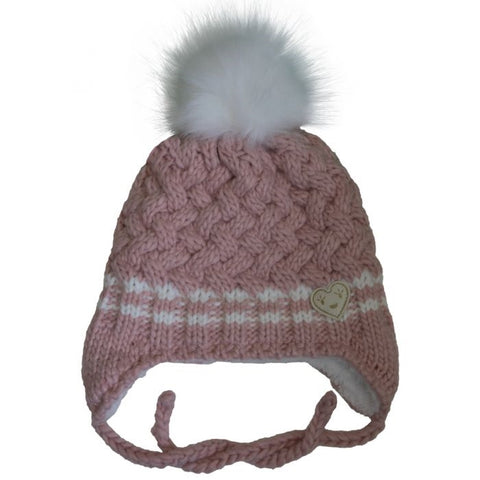 Calikids Knit Hat Heart - Pink