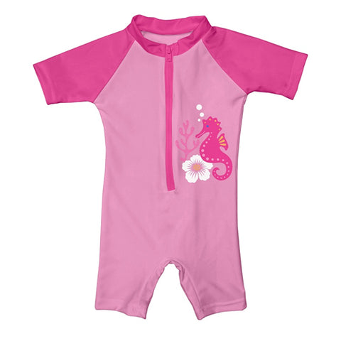 iPlay One-piece Swim Sunsuit - Pink Seahorse