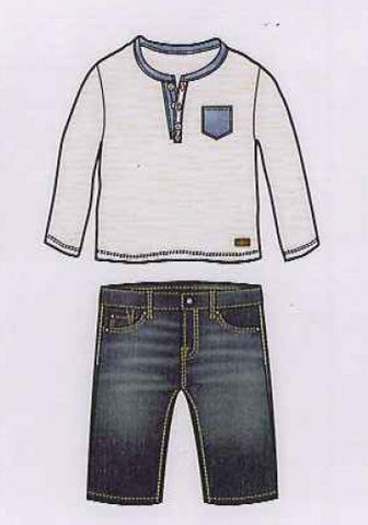 7 for All Mankind White/Navy Top with Medium Indigo Jeans