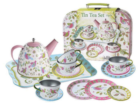 Bird Tin Tea Set in Carry Case