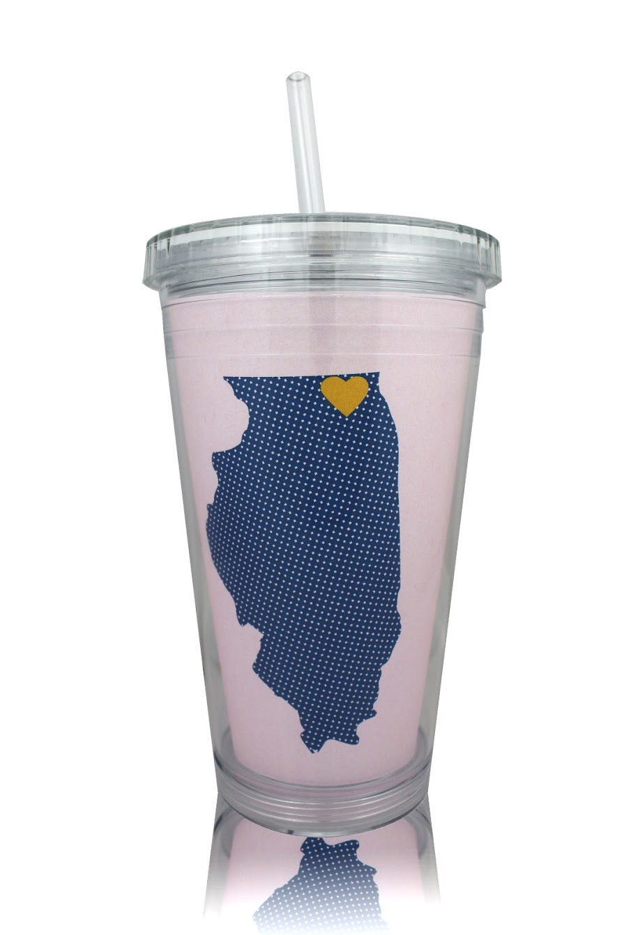 Round Lake ILLINOIS Heart Tumbler