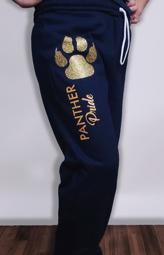 Glitter Panther Pride Joggers in Navy