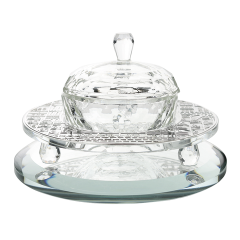 Crystal Honey Dish With Silver Jerusalem 3 Pc 4 3/4 w X1 1/2 H