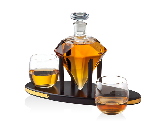 Diamond Decanter 750ml +2 Glass