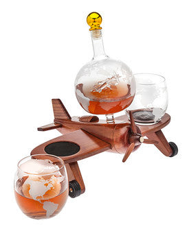 Airplane Decanter set W/ 2 Glasses