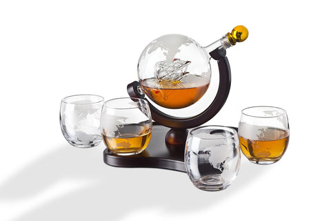 WHISKEY DECANTER GLOBE SET WITH 4 ETCHED GLOBE WHISKEY GLASSES