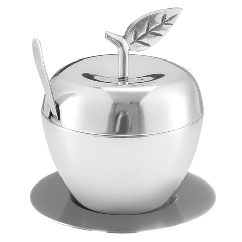 Honey Dish Apple Shape Stainless Steel With Tray & Spoon PLATE