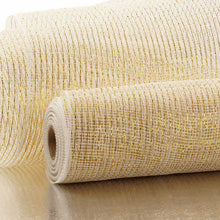 "White/Gold  Metallic Striped Deco Mesh 10"" X 10Yd"