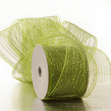 "Olive Deco Mesh W/Metallic Stripes  4"" X 20Yd"
