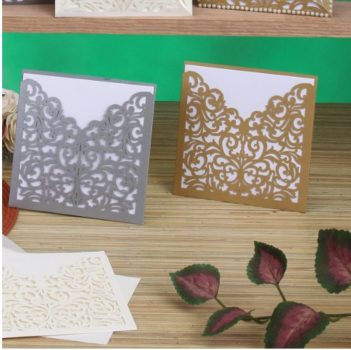 "LASER-CUT BLANK INVITATIONS 5.75"" x 5.75"" , 8PCS/PACK"