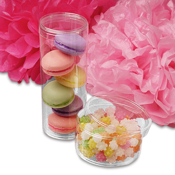 Clear Round PVC Containers With Cap 2-1/2 X 7