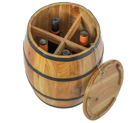 Wine Barrel 4 Sectional Crate comes with  Removable  Lid