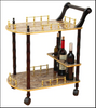 2-Tier Serving Tea Cart-Gold Marble Finish