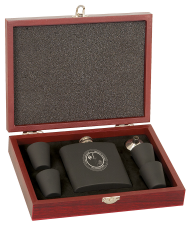 Stainless Steel Flask Set in Wood Presentation Box