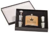 Leather Flask Set in Black Presentation Box