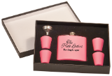 Matte Pink Flask Set in Black Presentation Box