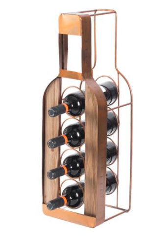 Decorative Metal Bottle Shaped Freestanding 4 Wine Bottle Holder