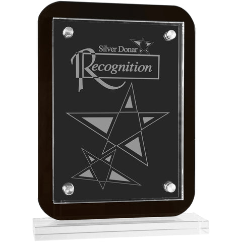 Black Floating Glass Standup Plaque