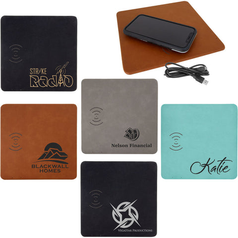 "8"" x 8"" Laserable Leatherette Phone Charging Mat"