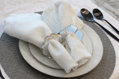 Mirrored Flower Napkin Rings- Silver or Gold