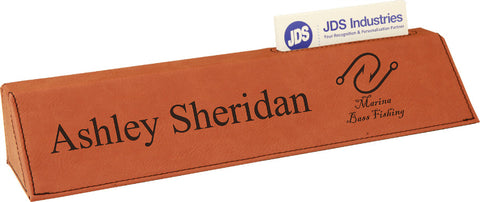 Leatherette Desk Wedge with Business Card Holder