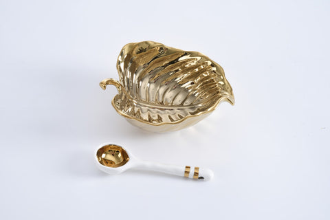 The Silver or Gold Leaf Set Honey Dish and Spoon