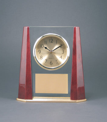 Engraving clock glass mahogany