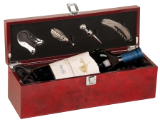 Rosewood Piano Finish Single Wine Box with Tools