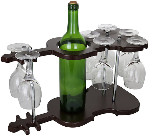 GUITAR SHAPED WINE BOTTLE & 7 GLASS HOLDER