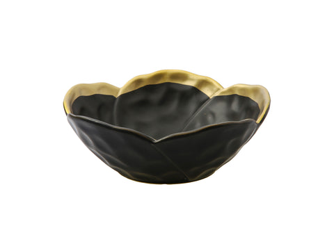 Black Porcelain Flower Shaped Bowl with Gold Rim