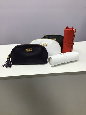 Cosmetic Case and Jewelry Roll Set