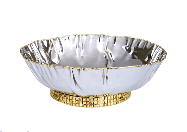 "Stainless Steel Crumpled Bowl With Mosaic Base 7.75""D X 3.25""H"