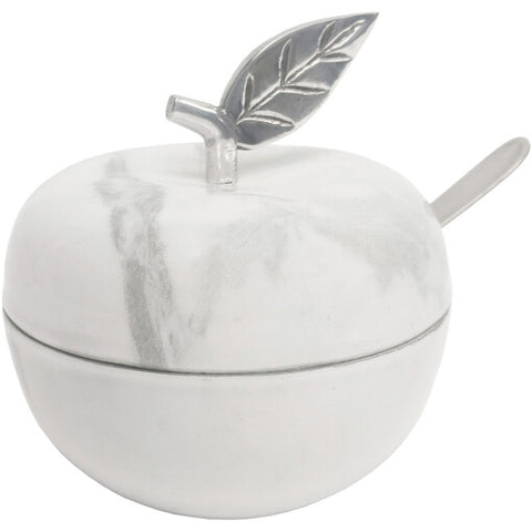 White Marble Apple Jam Honey Jar