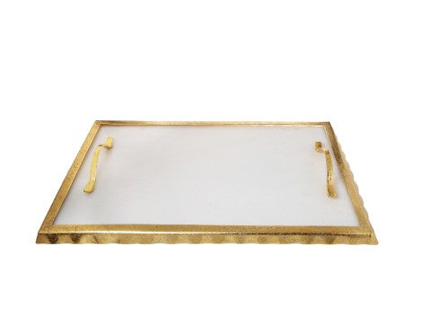 "White Marble Challah Tray With Gold Rim And Handles - 17 .25""L X 10.25""W X 1.5""H"